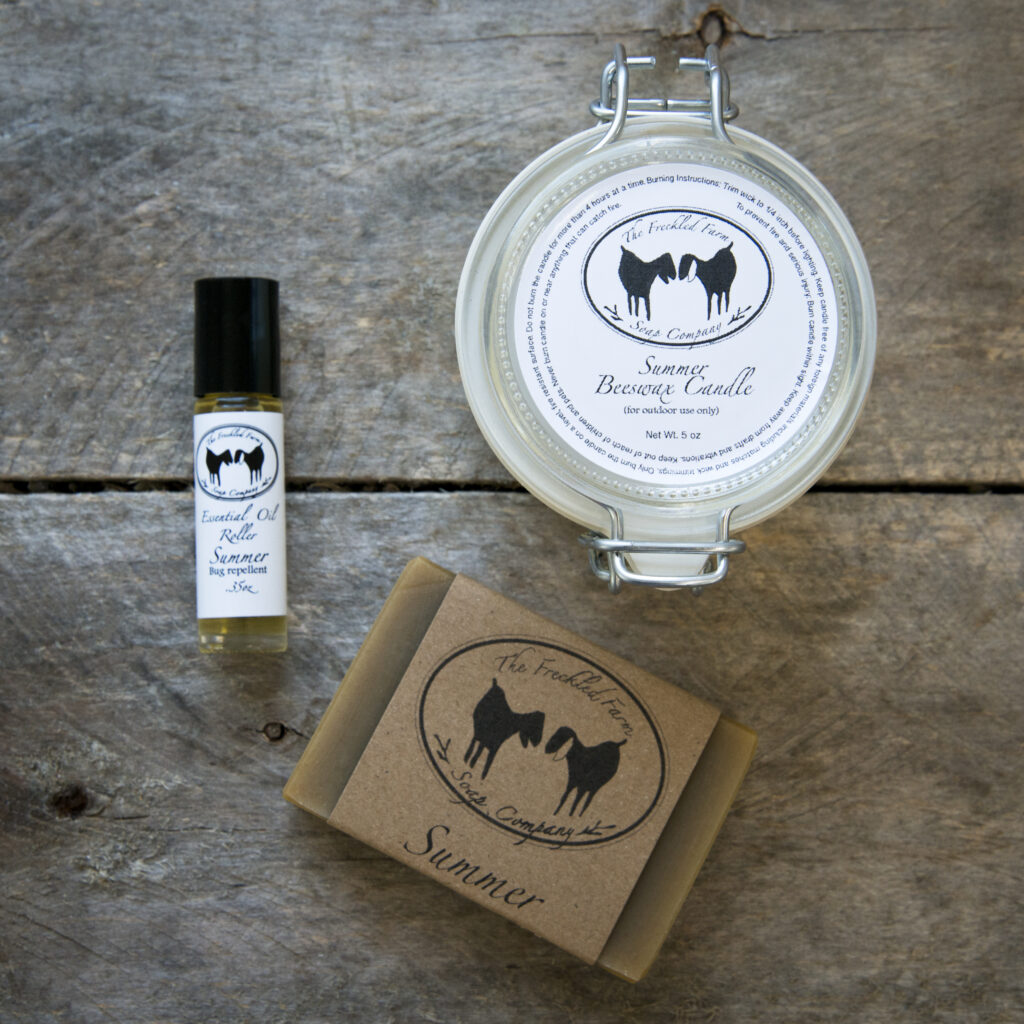 Summer skin care products from The Freckled Farm Soap Company